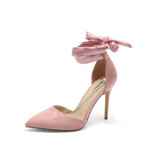 Chic / Belle Rougissant Rose Soirée Chaussures Femmes 2020 Noeud Daim 10 cm Talons Aiguilles À Bout Pointu Talons Hauts