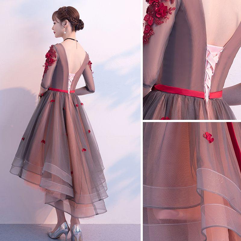 Moderne / Mode Bordeaux Robe De Cocktail 2019 Princesse V-Cou Appliques Noeud 1/2 Manches Dos Nu Asymétrique Robe De Ceremonie