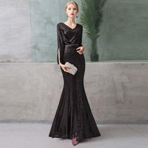 3944e766a7 Proste   Simple Czarne Sukienki Wieczorowe 2019 Syrena   Rozkloszowane V- Szyja Cekiny 3