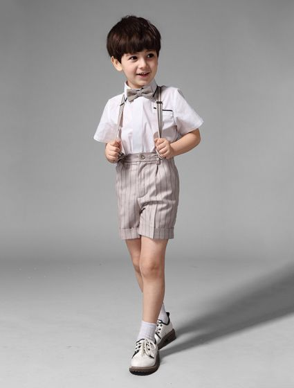 Boy Wedding Suits 3 Sets Ring Bearer Wedding Striped Suits