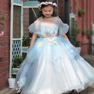 Chic / Beautiful Church Wedding Party Dresses 2017 Flower Girl Dresses Sky Blue Ball Gown Floor-Length / Long Cascading Ruffles Scoop Neck 1/2 Sleeves Backless Flower Appliques Rhinestone Sequins