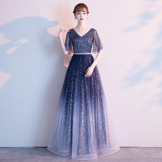 Modern / Fashion Navy Blue Starry Sky Evening Dresses  2019 A-Line / Princess V-Neck Star Sequins Short Sleeve Backless Floor-Length / Long Formal Dresses