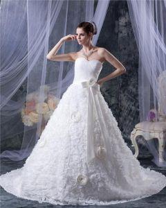 Satin Spets Blomma Alskling Kapell A-line Brudklänningar Bröllopsklänningar