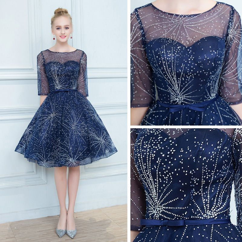 Chic / Beautiful Navy Blue See-through Cocktail Dresses 2019 A-Line / Princess Square Neckline 1/2 Sleeves Glitter Tulle Bow Sash Short Ruffle Formal Dresses