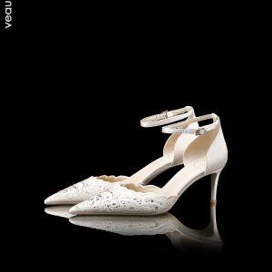 Luxus Hvide Brudesko Læder Beading Rhinestone Højhælede Spidse Tå Damesko 2019