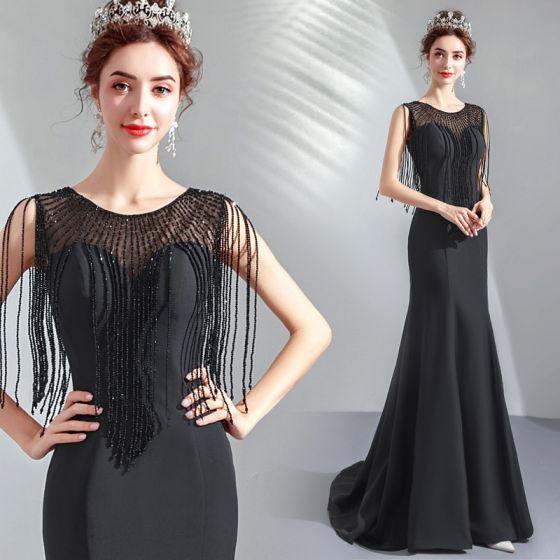 4d64e39ed4 Elegantes Negro Transparentes Vestidos de noche 2019 Trumpet   Mermaid  Scoop Escote Sin Mangas Rebordear Tassel Colas ...