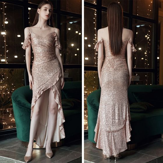 Sparkly Rose Guld Selskabskjoler 2020 Havfrue Gennemsigtig Scoop Neck Kort Ærme Pailletter Asymmetrisk Flæse Kjoler