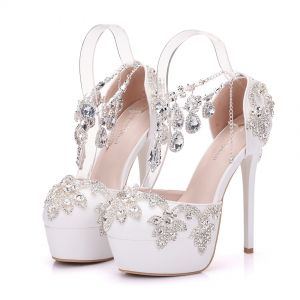 Sparkly White Wedding Shoes 2018 Crystal Rhinestone 14 cm Stiletto Heels Round Toe Wedding High Heels
