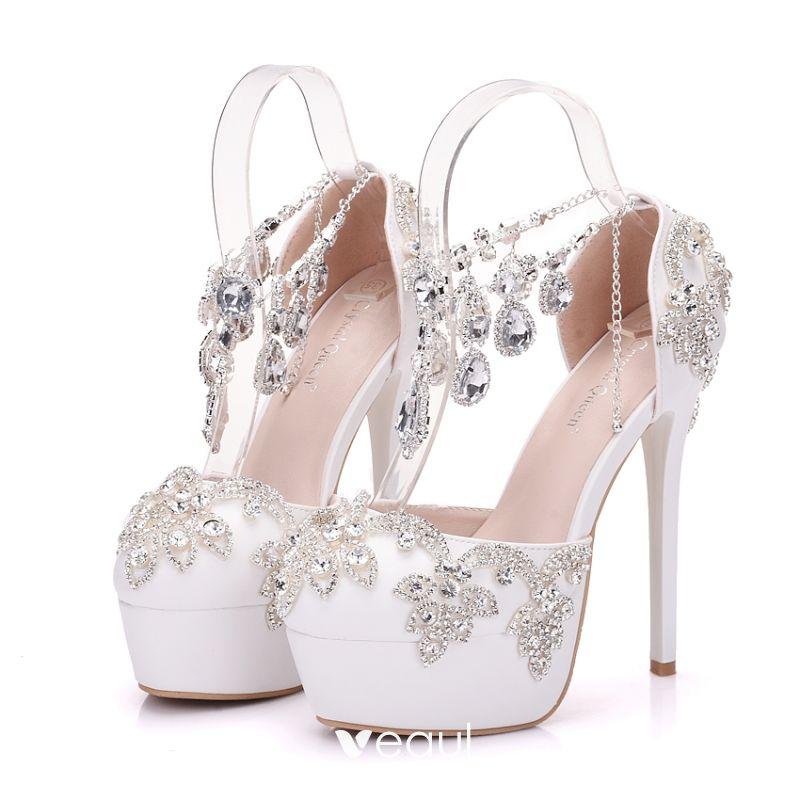 23ed553a195 Sparkly White Wedding Shoes 2018 Crystal Rhinestone 14 cm Stiletto ...