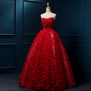 Chinese style Red Wedding Dresses 2019 A-Line / Princess Strapless Appliques Lace Flower Beading Pearl Sleeveless Backless Floor-Length / Long