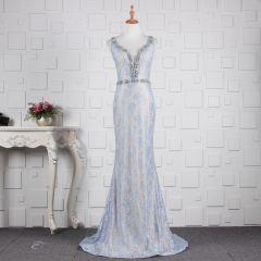 Elegant Sky Blue Evening Dresses  2019 Trumpet / Mermaid Glitter Lace Crystal V-Neck Sleeveless Backless Sweep Train Formal Dresses