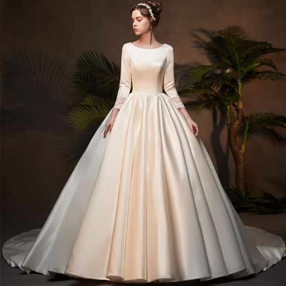 Wedding Dresses: Vintage / Retro Ivory Satin Winter Wedding Dresses 2019