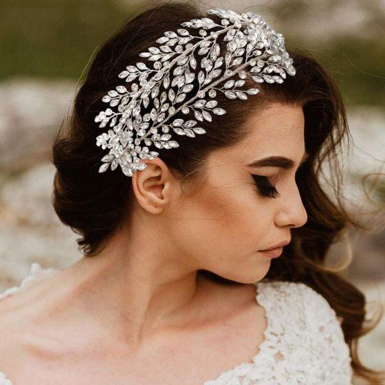 Elegant Silver Wedding Headpieces 2021 Alloy Rhinestone Bridal Hair Accessories