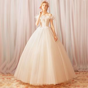 Chic / Beautiful White Floor-Length / Long Wedding Dresses 2018 Tulle Appliques Backless Beading Sequins Strapless Ball Gown Wedding