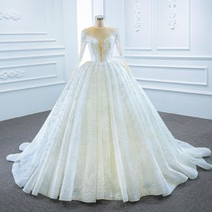 Luxury / Gorgeous White Bridal Wedding Dresses 2020 Ball Gown See-through Scoop Neck Sleeveless Backless Appliques Lace Beading Glitter Tulle Court Train
