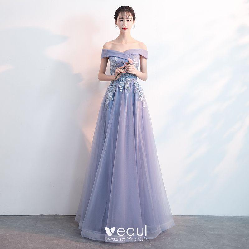 Charming Lavender Evening Dresses 2019 A Line Princess Off The Shoulder Beading Pearl Lace Flower Short Sleeve Backless Floor Length Long Formal