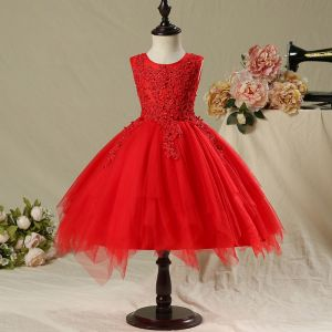 Chic / Beautiful Hall Wedding Party Dresses 2017 Flower Girl Dresses Red Short Ball Gown Cascading Ruffles Sleeveless Scoop Neck Flower Appliques Pearl