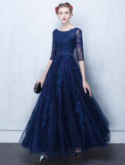 44ad152ae1f Elegant Lace Evening Dress 2017 Blue Long Formal Gown With ...