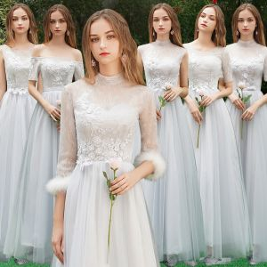 Discount Grey Bridesmaid Dresses 2019 A-Line / Princess Appliques Lace Floor-Length / Long Backless Wedding Party Dresses