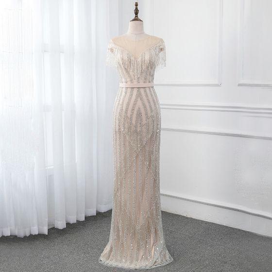High End Champagner Durchsichtige Abendkleider 2019 Meerjungfrau Rundhalsausschnitt Ärmellos Stoffgürtel Perlenstickerei Quaste Lange Rüschen Festliche Kleider