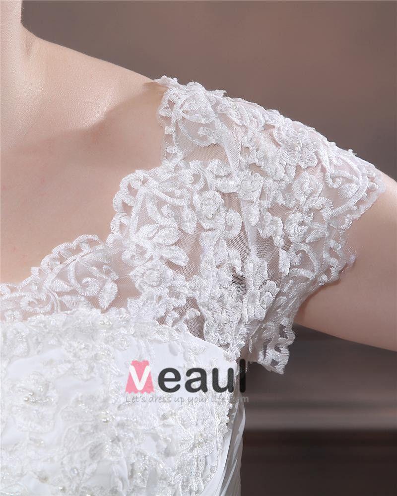 A-Line V Neck Short Sleeve Sweep Satin Organza Lace Plus Size Wedding Dress