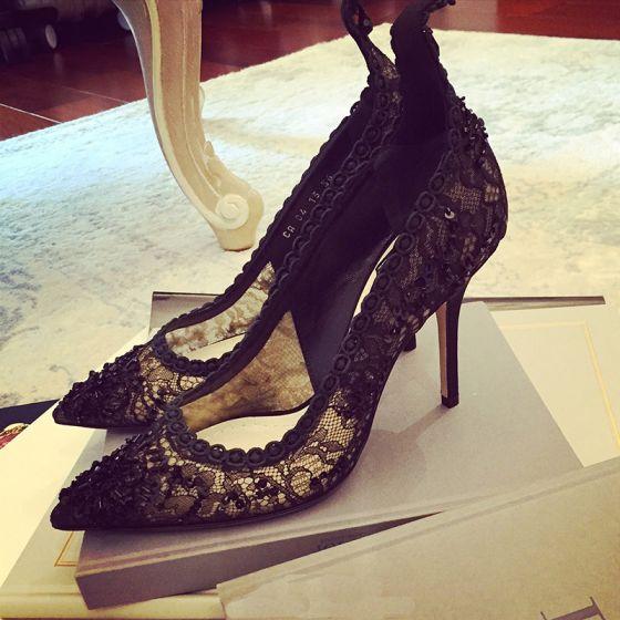 Chic / Beautiful 2017 8 cm / 3 inch Black Evening Party Lace Silk Summer Pierced High Heels Stiletto Heels Pumps