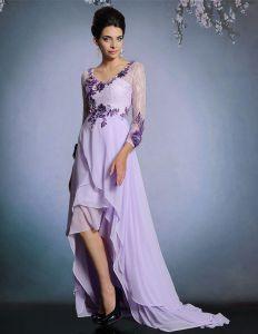 2015 Asymmetrische 3/4 Ärmeln Applique Partykleid Abendkleid