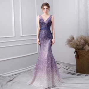 Charming Gradient-Color Purple Evening Dresses  2019 Trumpet / Mermaid V-Neck Beading Crystal Lace Flower Rhinestone Sleeveless Backless Sash Floor-Length / Long Formal Dresses