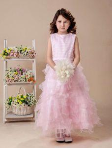 Rose A-ligne En Satin De Thé Longueur Robe Ceremonie Fille Robe Fille Mariage