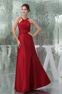 2015 Simple Empire Halter Spaghetti Straps Red Bridesmaids Dress