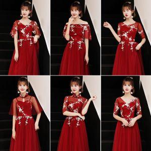 Erschwinglich Rot Brautjungfernkleider 2019 A Linie Stoffgürtel Applikationen Spitze Lange Rüschen Kleider Für Hochzeit