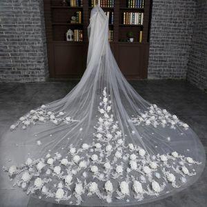 Mooie / Prachtige Witte 2017 Tule Kerk Appliques Geborduurde Bruidssluier