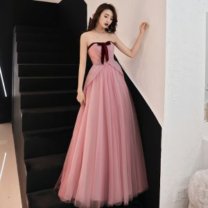 Elegant Blushing Pink Formal Dresses 2019 A-Line / Princess Strapless Bow Sleeveless Backless Floor-Length / Long Prom Dresses
