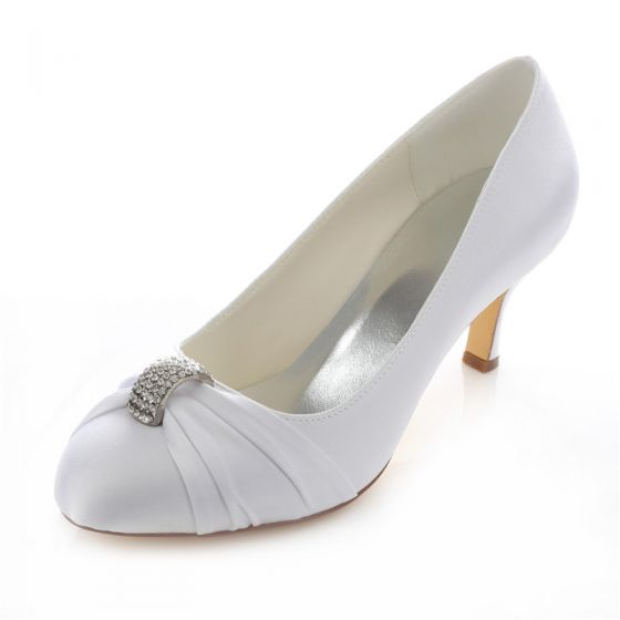 Elegant Satin Wedding Shoes Stiletto Heels White Pumps With Crystal