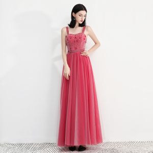 Chic / Beautiful Watermelon Prom Dresses 2018 A-Line / Princess Shoulders Sleeveless Beading Ankle Length Ruffle Backless Formal Dresses
