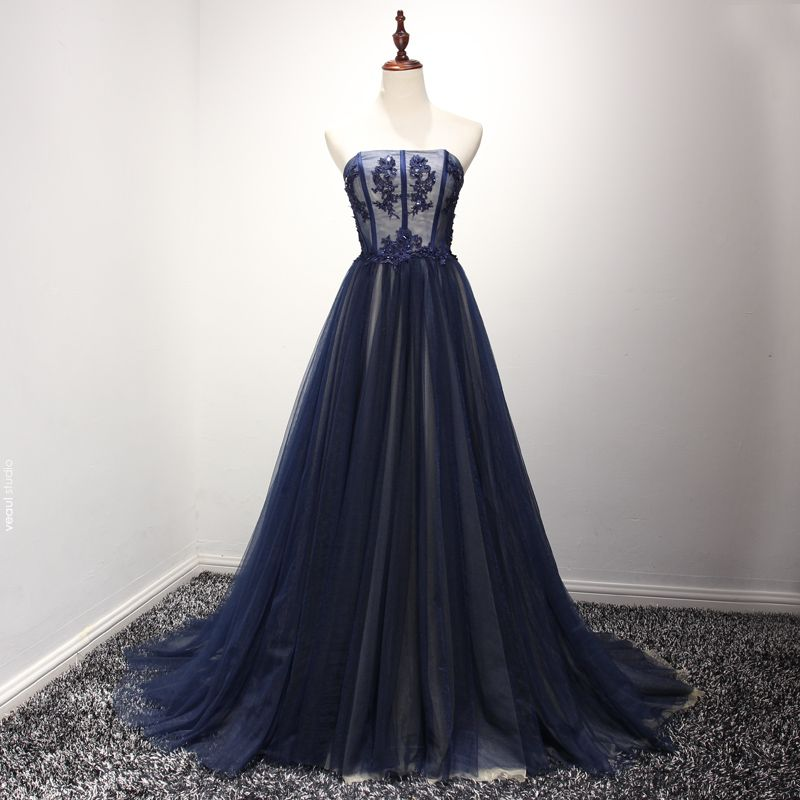 Chic / Beautiful Formal Dresses 2017 Evening Dresses  Navy Blue A-Line / Princess Sweep Train Strapless Sleeveless Backless Lace Appliques Beading Rhinestone