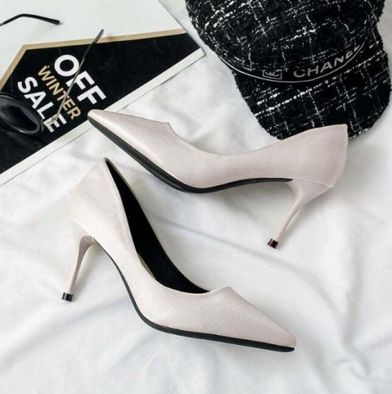 Affordable Office Beige Pumps 2019 7 cm Stiletto Heels Pointed Toe Pumps