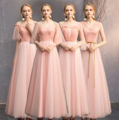 Discount Pearl Pink Bridesmaid Dresses 2019 A-Line / Princess Glitter Tulle Floor-Length / Long Ruffle Backless Wedding Party Dresses