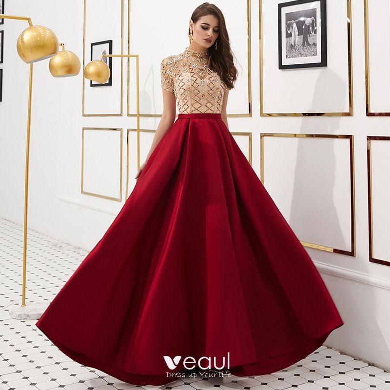 4a5edd5c18a Luxury   Gorgeous Vintage   Retro Red See-through Evening Dresses 2019 A- Line   Princess High Neck Short Sleeve Rhinestone ...
