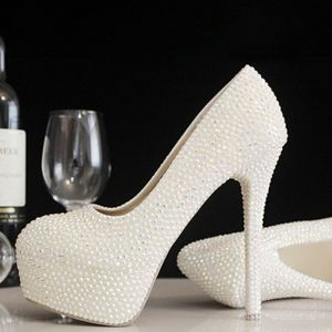 Amazing / Unique White 14 cm Wedding Shoes 2018 Round Toe Red Carpet Wedding Beading Pearl High Heels Pumps