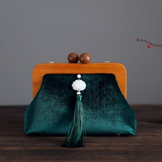 Vintage / Retro Chinese style Dark Green Velour Tassel Square Clutch Bags 2020