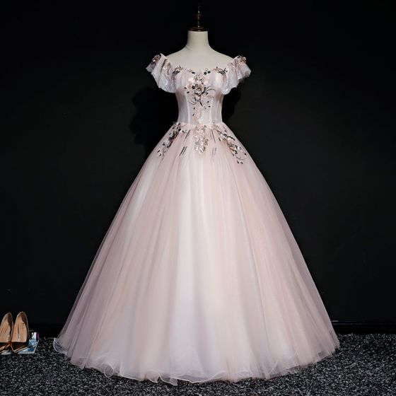 Elegant Perle Pink Gallakjoler 2019 Balkjole Firkantet Halsudskæring Kort Ærme Applikationsbroderi Med Blonder Perle Lange Flæse Halterneck Kjoler