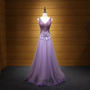 Chic / Beautiful Lavender Evening Dresses  2017 A-Line / Princess V-Neck Tulle Appliques Backless Beading Sequins Evening Party Formal Dresses