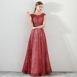 Bling Bling Red Evening Dresses  2018 A-Line / Princess Scoop Neck Sleeveless Glitter Tulle Sash Floor-Length / Long Ruffle Backless Formal Dresses