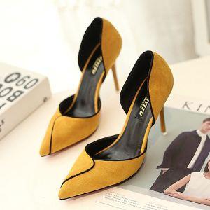 Elegant 2017 9 cm Beige Black Green Yellow Casual Office PU Summer Suede High Heels Stiletto Heels 9 cm Pumps