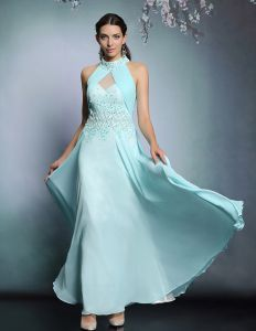 2015 Halter Beading Sequins Long Evening Dress Party Dress