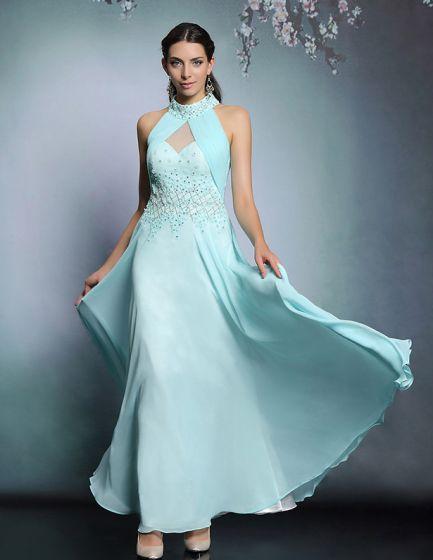2015 Halter Beading Sequins Long Evening Dress Party Dress