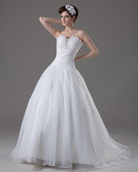 Strapless Floor Length Beading Pleated Yarn A Line Wedding Dress