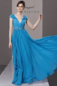 V Neck Beading Ruffle Lotus Leaf Hem Short Sleeve Zipper Floor Length Empire Tencel Woman Evening Dress