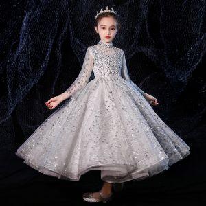 Vintage Szary Przezroczyste Sukienki Dla Dziewczynek 2020 Princessa Wysokiej Szyi Długie Rękawy Frezowanie Rhinestone Długie Wzburzyć